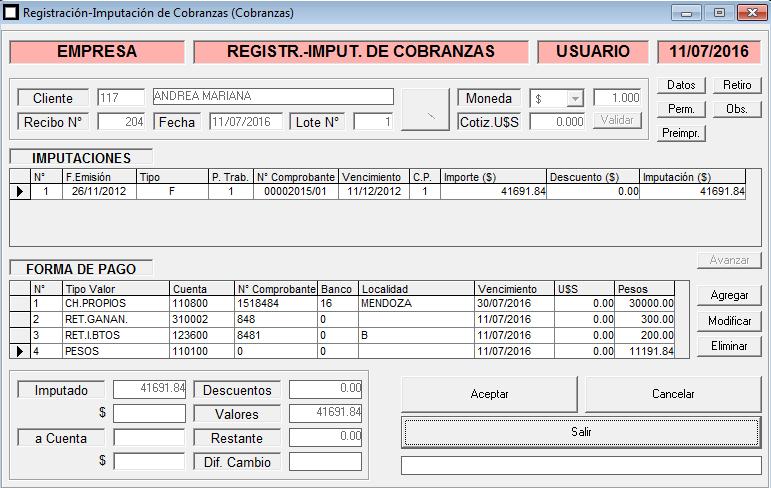 ERP Naitiva - Registración de Recibos de Cobranzas