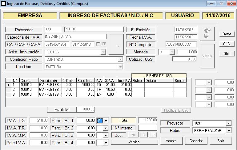 ERP Naitiva - Ingreso de Comprobantes de Proveedores