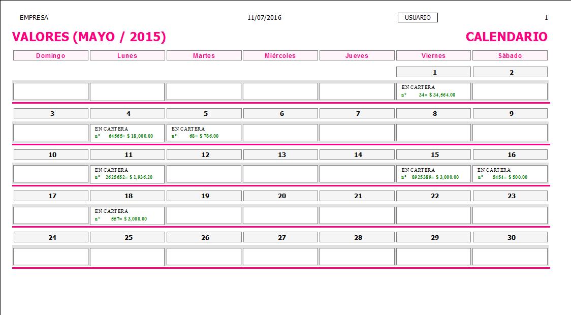 ERP Naitiva - Calendario de Valores