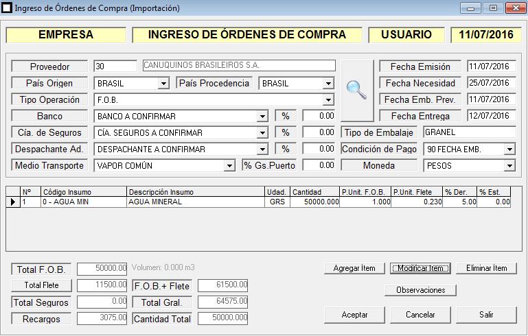 ERP Naitiva - Ordenes de Compra al Exterior