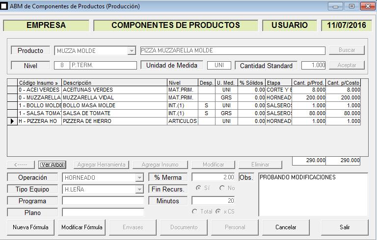 ERP Naitiva - Formulas de Productos