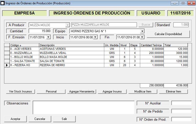 ERP Naitiva - Ingreso de Ordenes de Produccion